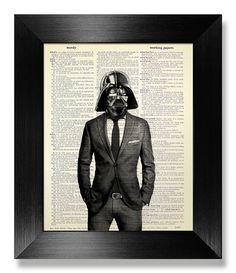Star Wars Print, OFFICE Decor, DORM Room Decor, Unique Wedding Gift Man Him Boyfriend, College GRADUATION Gift, Darth Vader Wall Art in Suit
