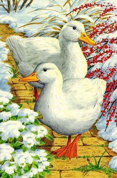 DPF DIY Two ducks diamond painting cross stitch crafts diamond embroidery home decor mosaic kit full square wall painting Art And Illustration, Illustrations, Duck Art, Garden Animals, Bird Drawings, Coq, Christmas Cats, Bird Art, Pet Birds