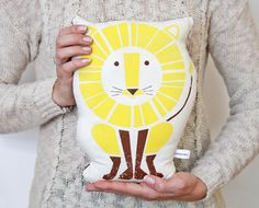 Lion Pillow, Organic Cotton, Hand Screenprinted, 2 color. $40.00, via Etsy.
