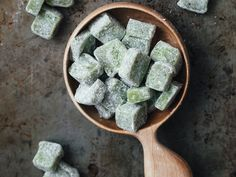 Matcha Mochi   This recipe for mochi—a sweet Japanese rice cake—gets a pretty green color from green tea powder.