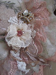 I would like to show you some of my vintage lace, I keep it safely packed away because it is so delicate and rips easily. Shabby Chic Flowers, Lace Flowers, Fabric Flowers, Lace Ribbon, Fabric Ribbon, Ribbon Work, Doilies Crafts, Antique Lace, Vintage Lace