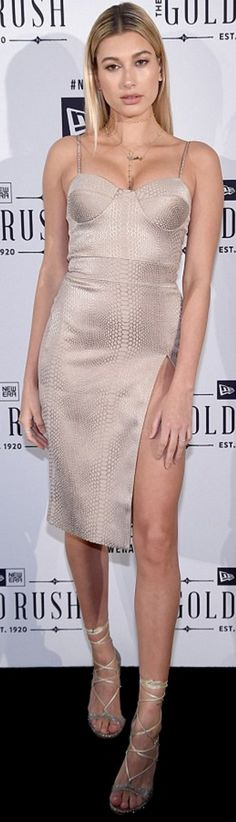 Who made Hailey Baldwin's tan dress and nude lace up sandals?