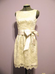 Ivory  lace  and satin  dress, brides maid, casual bride, reseption dress by HiddenRoom on Etsy