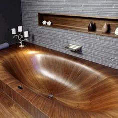 Einmalig: Jede Holz-Badewanne ist dank ihrer individuellen Maserung ein Unikat…