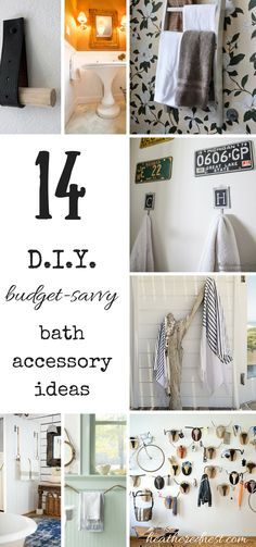 14 INEXPENSIVE & DIY Bath Accessory Ideas!  DON'T SPEND A FORTUNE on a towel rack!  CHECK THESE OUT NOW!