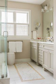 Ideas For Bath Room Paint Beige Tile Benjamin Moore Bathroom Paint Colors, Wall Paint Colors, Neutral Bathroom Colors, Bathroom Yellow, Bathroom Grey, Bathroom Spa, Bathroom Vanities, Neutral Colors, Master Bathroom