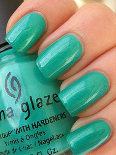 China Glaze Turned Up Turquoise. My Notes: This neon-y turquoise is my current favorite color, and I get compliments on it regularly. It's bright, cheerful and summery. I'm on week three with this polish, and I see myself wearing it for quite a while.