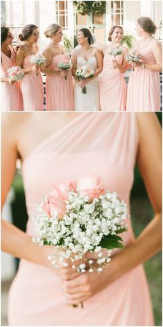 Light pink bridal party, wedding bouquets with baby's breath and pink roses, long bridesmaid dresses // Nicki Metcalf Photography
