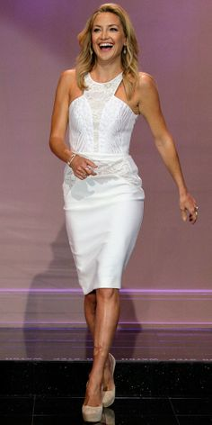 Kate Hudson in  Antonio Berardi sheath dress with  Jennifer Meyer jewelry.  neutral Casadei pumps.