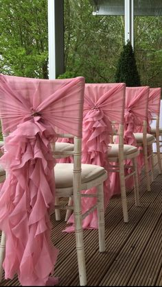 Wedding chairback décor - Waterfall Ruffle Hoods