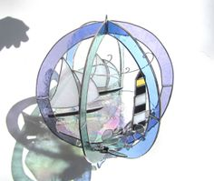 Windswept Sails  Stained Glass 3D Sphere  Large by katiediditglass, $185.00