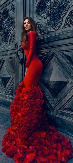 Gorgeous elaborate gown with a ruffled rose train.. super sexy for a formal Valentines Day affair.