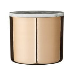 A beautiful combination of metal and marble comes alive in this beautiful jar. Use it to store any household items or as a decorative element. Size: Ø 16 x H 14 cm Material: Copper, Marble Brown Candle Holders, Brown Candles, Jar Storage, Food Storage, Copper And Marble, Gray Marble, Stainless Steel Canisters, Kitchen Canister Sets, Glass Kitchen