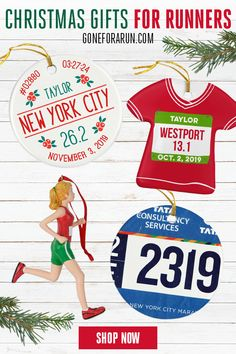 Let your love for running spread to your holiday decorations with the selection of Christmas tree ornaments for runners from Gone For a Run. Give them as gifts to all of the avid runners on your Christmas list. Custom Christmas Ornaments, Christmas Themes, Christmas 2019, Christmas Holidays, Creative Gift Wrapping, Creative Gifts, Unique Gifts, Running Gifts, Christmas Runner