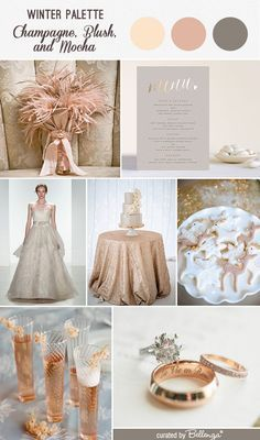 Champagne, blush, and mocha wedding inspiration with a ball gown dress, sequined table cloth, reindeer cookies, and feather bouquet.