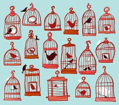 Bird Cages on Blue Art Print | Sheena Hisiro