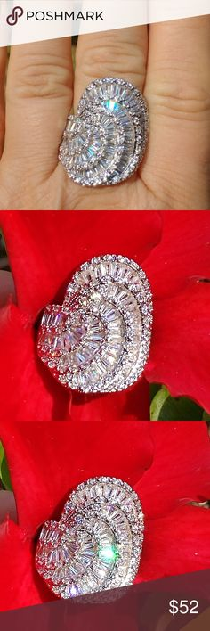 Woman's ring Gorgeous luxury genuine white sapphire gemstones 925 sterling silver dinner ring this will definitely be the talk of the party size 9 can be ordered in sizes 6 through 10 upon request 3 to 4 weeks for delivery Jewelry Rings