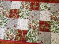 Quilted Christmas Table Runner with Birds and Birdhouses Red
