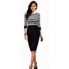 eab9379e13 Plus Size Contrast Slim Color Block Piano Bodycon Pencil Casual Office XXL  Dresses Women Dress Striped Black Cotton Winter Dress