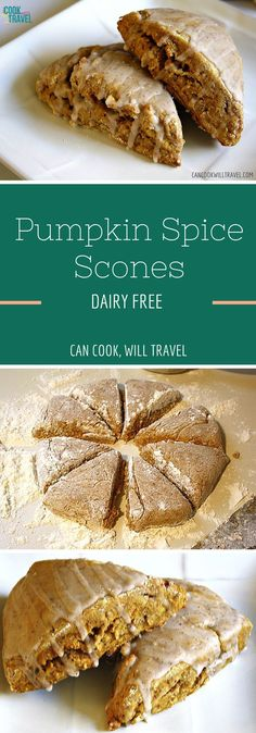 Get ready for Fall to officially be tastier with these divine Pumpkin Spice Scones! They're dairy free & a breeze to whip up. These guys are perfect for breakfast because they're moist and tender, with a light crust and a sweet glaze!