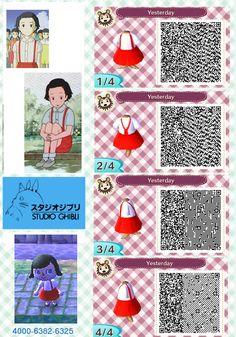 Animal Crossing: New Leaf - QR code for Taeko's school dress from Only Yesterday.  Studio Ghibli  Dream code: 4000-6382-6325