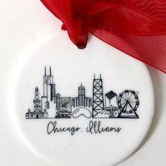 Chicago christmas ornament | Etsy Chicago Movie, Chicago Map, Chicago Hotels, Chicago Restaurants, Chicago Christmas Tree, Christmas Tree Ornaments, Christmas Decorations, Decorative Plates, Crafty