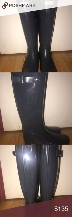e0892deebeb0 Hunter Boots Tall Gray Worn once. I need the size up to accommodate liners!  My loss is your gain! They look new Hunter Shoes Winter & Rain Boots