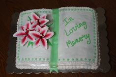 Celebration of life book cake we did for my sister-in-law.