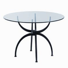 Wonderful 55 Glass Top Dining Tables With Original Bases : 55 Glass Top Dining Tables With Circle Glass Design And Unique Legs Glass Round Dining Table, Dining Table Chairs, Glass Table, Table Furniture, Round Glass, Dining Room, Contemporary Desk, Table And Chair Sets, Table Bases