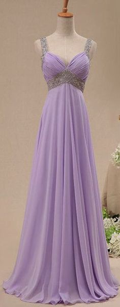 Crystal Straps Chiffon Long Prom Dress