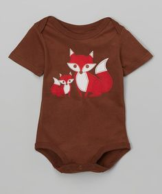 Another great find on #zulily! Brown & Red Foxes Bodysuit - Infant #zulilyfinds