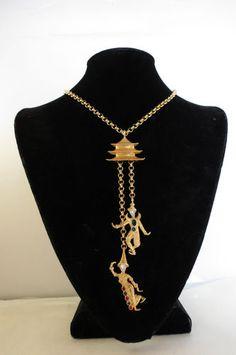 VTG 60'sc KJL Kenneth Jay Lane Asian Siam Thai Dancer Necklace