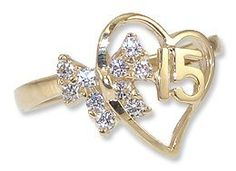 14k Yellow Gold, Heart & Bow Design 15 Anos Quinceanera Ring with Brilliant Lab Created Gems GiveMeGold. $230.95. Stylish and beautiful on the finger with super sparkly round brilliant cut stones.. Intricate design and finish is elegant and timeless. The ring is 13mm at the widest point.. Genuine 14k gold - NOT plated or filled. A gift box is included with purchase.. We only stock the size listed but we offer ring size adjustment service with restrictions. Conta...