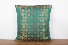 Deep Teal Green Silk Pillow ,Decorative throw pillow cover 16x16 sham, Green/Gold pillow Accent Pillow Sofa Pillow Couch Pillow,Silk brocade