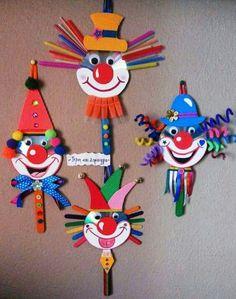 30 idéias para criar com crianças no carnaval - Basteln mit kindern - Kids Crafts, Clown Crafts, Circus Crafts, Carnival Crafts, Carnival Decorations, Paper Christmas Decorations, Creative Crafts, Preschool Crafts, Projects For Kids