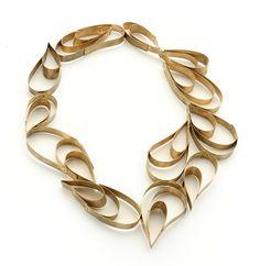 Yu Qi Tan sculptural teardrop necklace - brass, raindrops #jewellery #design
