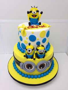 30 Creative Image of Minions Birthday Cake . Minions Birthday Cake Minions Cake Despicable Me Minions Party Birthday Cake Custom Birthday Cakes, 1st Birthday Cakes, Minion Birthday, Minion Party Theme, Birthday Ideas, Happy Birthday, Fondant Minions, Minion Cakes, Bolo Minion