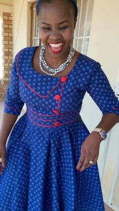 Top Dresses Seshoeshoe Designs 2019 ⋆ - Women's style: Patterns of sustainability Latest African Fashion Dresses, African Print Dresses, African Dress, Women's Fashion Dresses, African Prints, African Clothes, Setswana Traditional Dresses, South African Traditional Dresses, Traditional Wedding