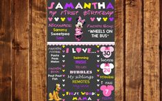 Minnie Mouse Birthday Chalkboard Poster Sign, Chalkboard Birthday Board, Birthday Sign, Poster, Disney, First Birthday, 1st Birthday Poster