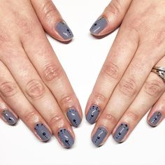 Simple & chic #gelish #gelmani #gelnails #dots #greynails #nailitdaily #nailart #nailswag #naildesigns #notd #studs by dallasbeauty_kate