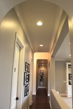 The hallway paint color is the same one I used upstairs - Benjamin Moore's Ozark Shadows but once again I had it lightened 50%