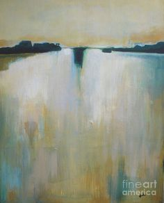 Painting Poster featuring the painting Glow In The Lake by Vesna Antic