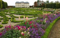 Glorious gardens of Chateau de Champs. The French garden was designed around 1710 by Claude Desgots, nephew and pupil of Lenôtre, famous landscape architect who made that of Versailles.