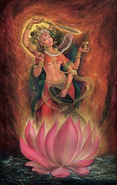 Shakti thangka, or paubha, painting is by Nepal's foremost contemporary artist, Udaya Charan Shrestha. Collector's Edition prints are available for sale and support social programs in the Himalaya. Kali Goddess, Mother Goddess, Goddess Art, Shiva Art, Krishna Art, Hindu Art, Qigong, Ganesh Photo, Sacred Feminine