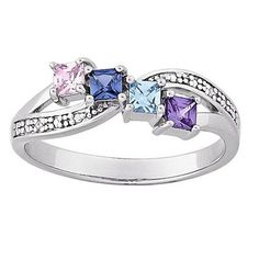 Mothers' Princess-Cut Austrian Crystal Simulated Birthstone and Diamond Accent Ring in Sterling Silver (4 Stones) - Zales