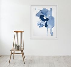 Large Abstract Art Print Navy Blue Abstract by LikeWilliamStudio
