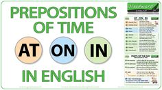 AT ON IN - Prepositions of Time in English - VIDEO - #ESL #ELL #LearnEnglish