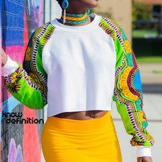 Ankara Dashiki Sleeve Sweatshirt - Know Definition African Print Shirt, African Print Fashion, Black Fist, Dashiki Shirt, African Fashion Designers, Turquoise And Purple, Printed Sweatshirts, Streetwear Fashion, Ankara