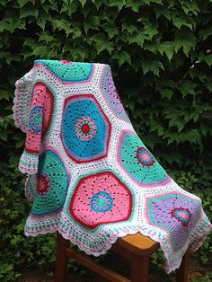 Ravelry: AnnabelsArmoire's Charlottes birthday blanket - free pattern: http://www.redheart.com/free-patterns/ruby-hexagon-throw