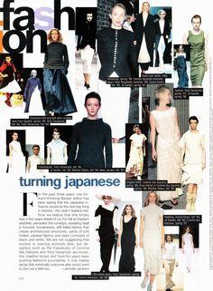 "CBK in Yohji Yamamoto and Anne Heche in Comme des Garcons plus Jean Paul Gaultier, Jil Sander, Martine Sitbon, Donna Karan, Patrick Robinson | Harper's Bazaar 1998 | PS The ""forward-thinking Bazaar editor"" in question was Melanie Ward [ellastica scan]."